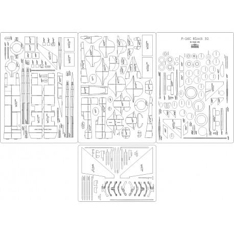 F-16C Block 32 - laser cut frames and details