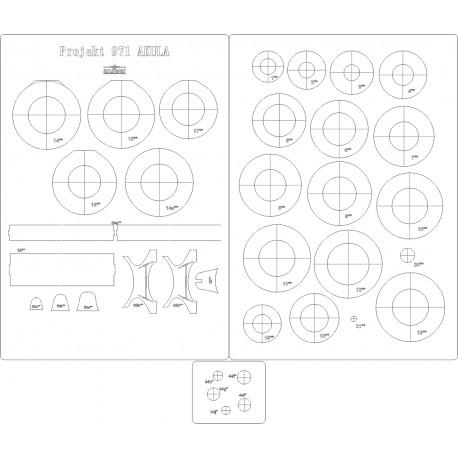 Projekt 971 Akula - laser cut frames and details